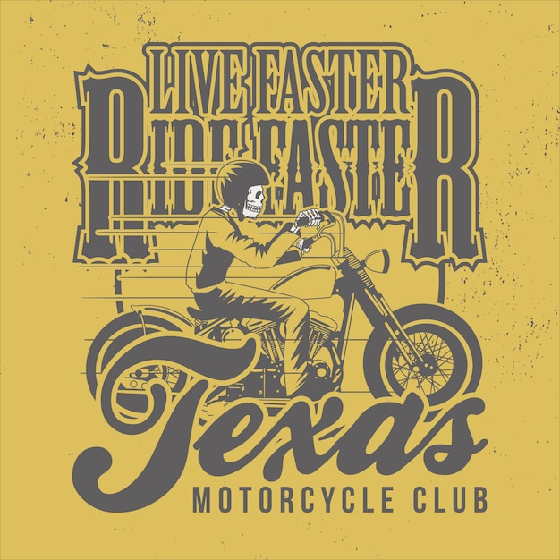 Live faster ride faster Premiumベクター