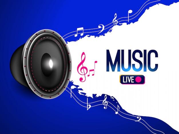 Banner di musica dal vivo con note musicali Vettore gratuito