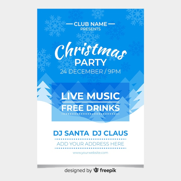 Live music christmas party poster Free Vector