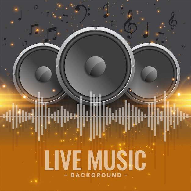 Live music concert banner with speakers Free Vector