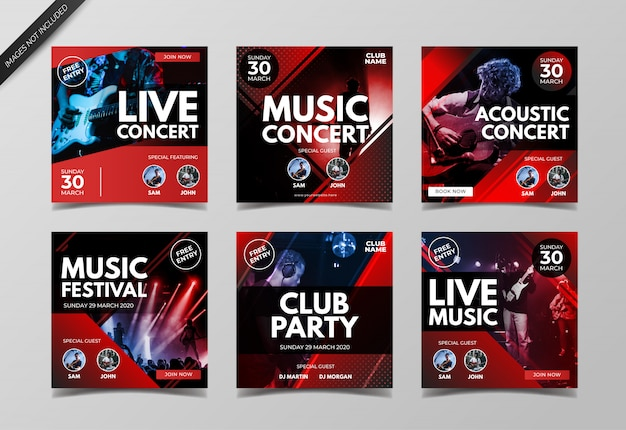Live music concert instagram post collection template Premium Vector