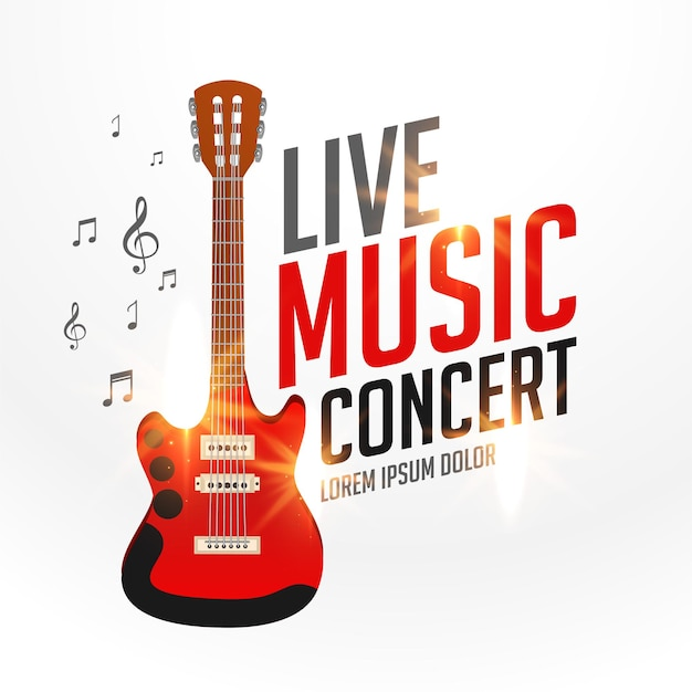 Live music cover template with realistic guitar Free Vector