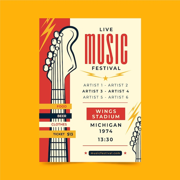 Live music festival poster Free Vector