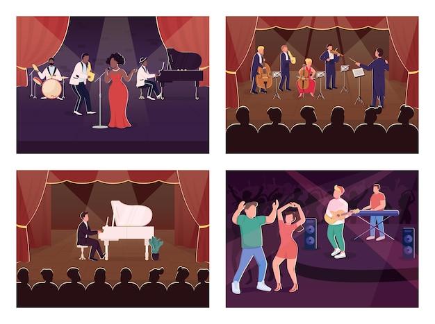 라이브 음악 쇼 평면 컬러 일러스트 세트. 클럽 댄스. 오케스트라 심포니 콘서트. 배경 컬렉션에 무대와 클래식 음악가 및 청중 2d 만화 캐릭터 프리미엄 벡터