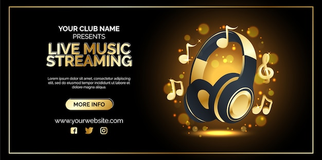 Live music streaming poster design Premium Vector