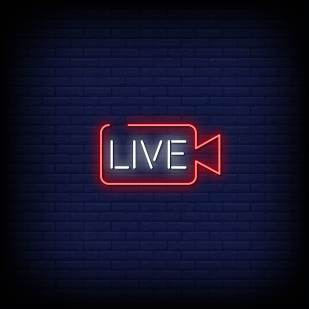 Live neon signs style text Premium Vector