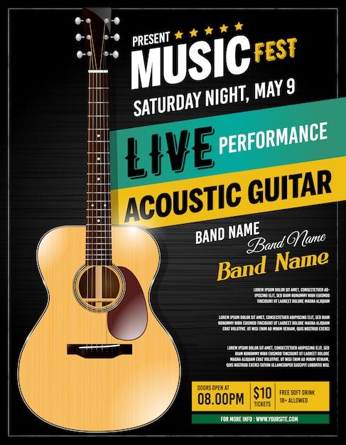 Live performance guitar acoustic poster Premium Vector