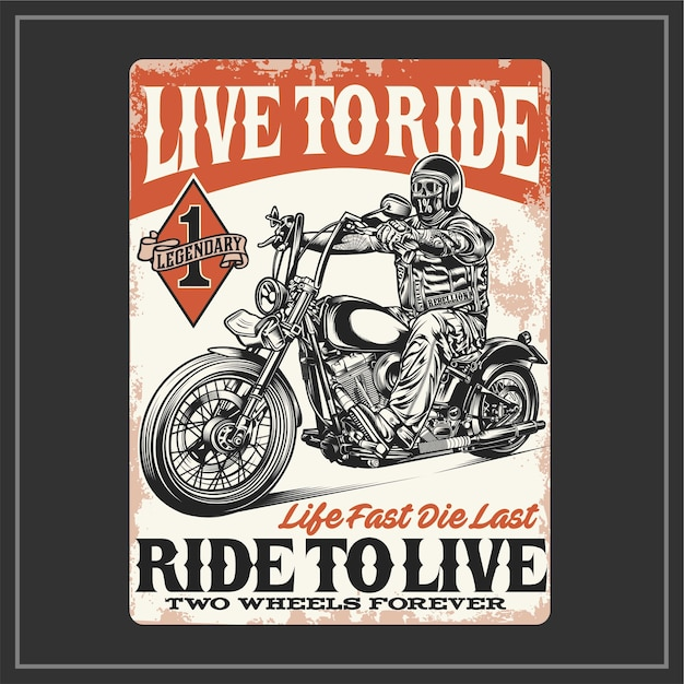 Live to ride Premium Vector