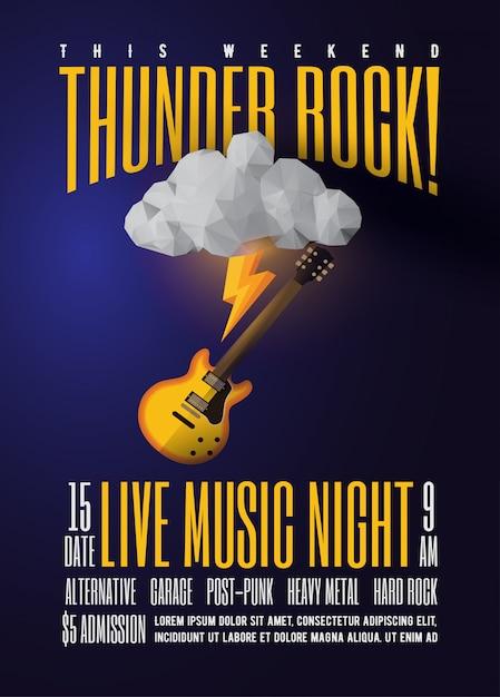 Live rock music party or concert or festival or jam session promo poster Premium Vector