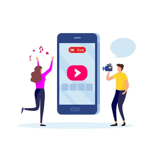Live social media. Premium Vector