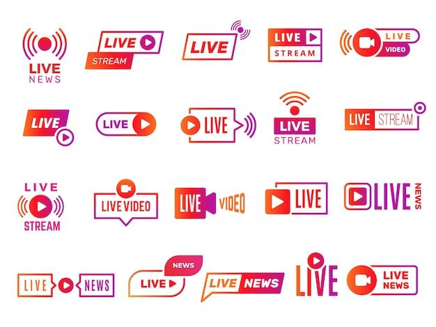 Значки прямых трансляций. видеотрансляция показывает цифровые онлайн-текстовые шаблоны живую коллекцию стикеров новостей. иллюстрация видеопотока, прямая трансляция онлайн Premium векторы