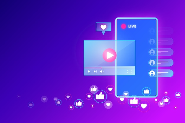 Live stream concept and fresh news Free Vector