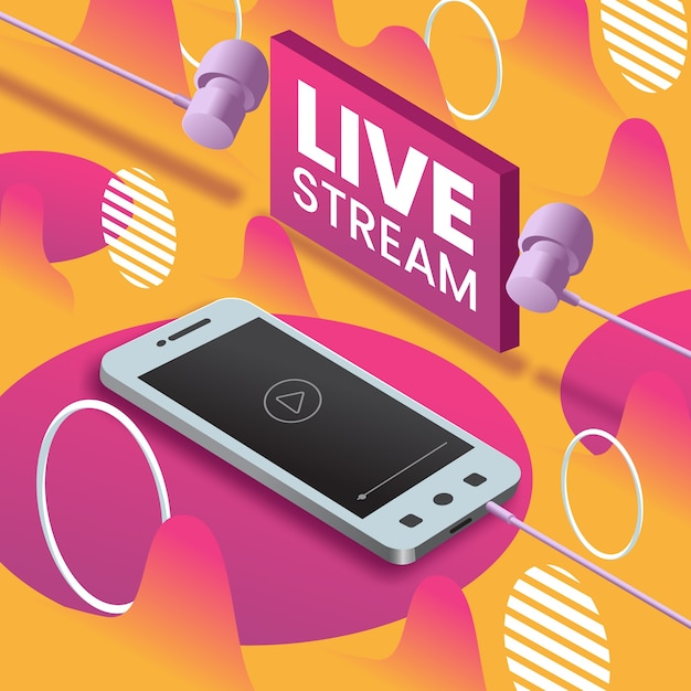 Live stream concept on mobile Free Vector
