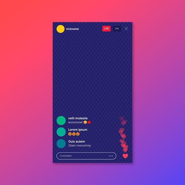 라이브 스트림 인스 타 그램 앱 인터페이스 템플릿 프리미엄 벡터