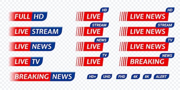 Live stream tv news tag icon. video symbol live broadcasting Premium Vector
