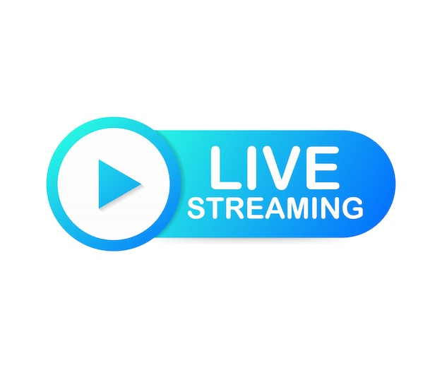 Live streaming flat logo - blue design element with play button. Premium Vector