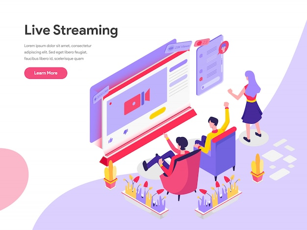 Live streaming isometric illustration concept Premium Vector