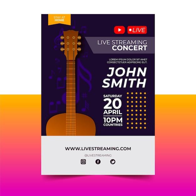 Manifesto di concerti di musica in diretta streaming con chitarra Vettore gratuito