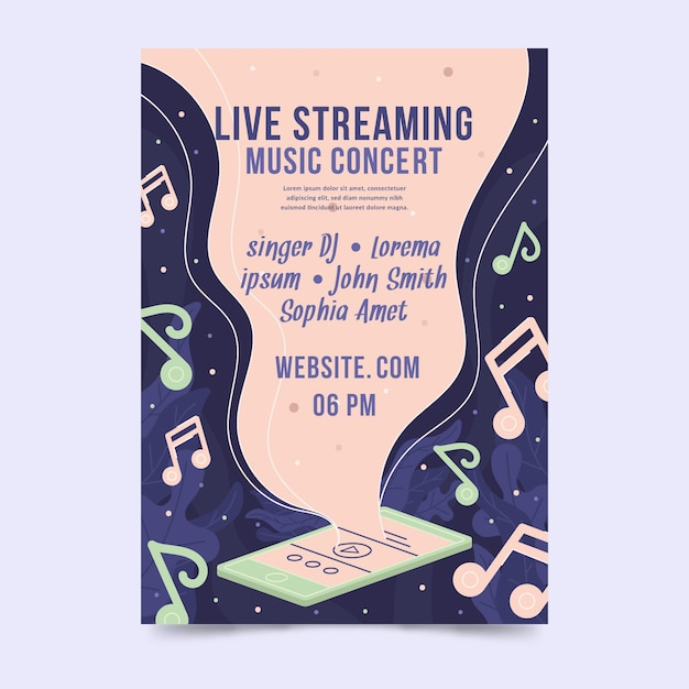 Live streaming music concert poster Free Vector