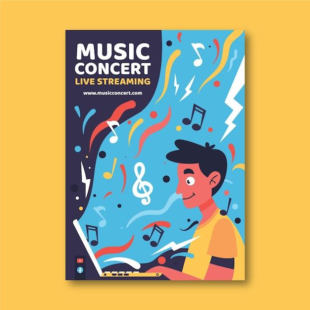 라이브 스트리밍 음악 콘서트 포스터 프리미엄 벡터