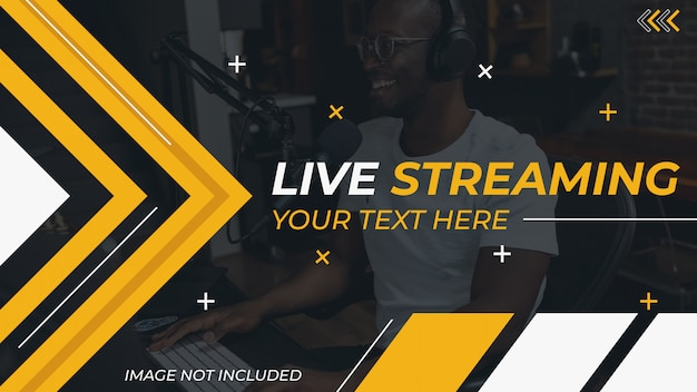 Live streaming podcast youtube thumbnail Premium Vector