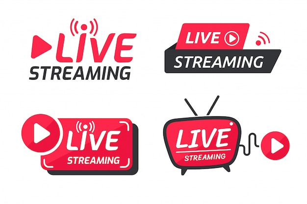 Live streaming symbol set online broadcast icon the concept of live streaming for selling on social media. Premium Vector
