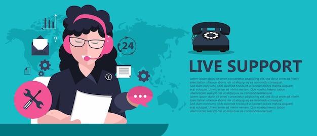 Live support banner Premium Vector