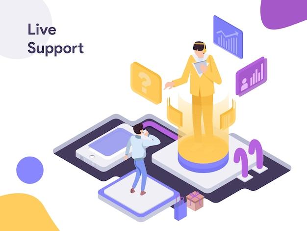 Live support изометрические иллюстрация Premium векторы