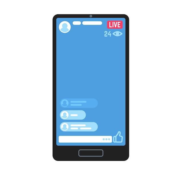 Живой видеопоток на телефоне. живые видеопотоки, онлайн-истории, потоковые передачи информации на экране смартфона. веб-сайт с рекламным контентом для мобильного телевидения Premium векторы