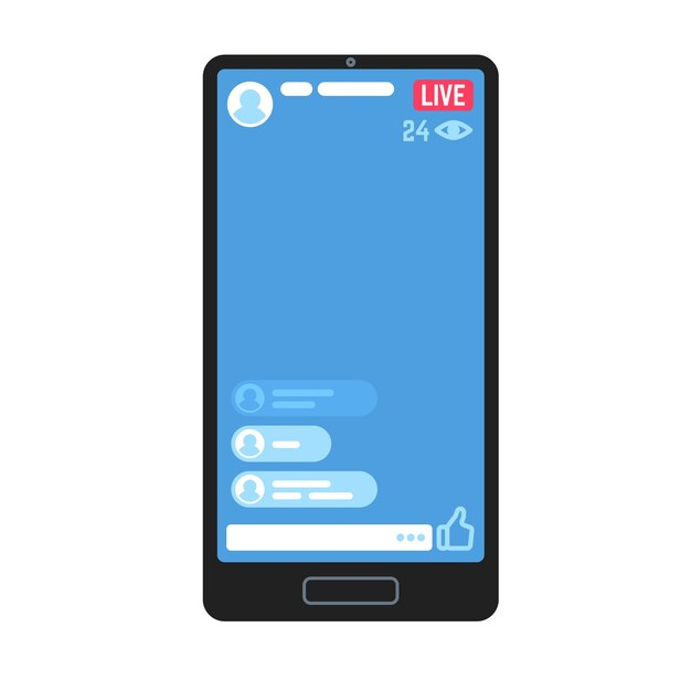 Live video stream on phone. living videos streams, online stories streaming smartphone screen chat information apps.  mobile tv play content advertising website Premium Vector