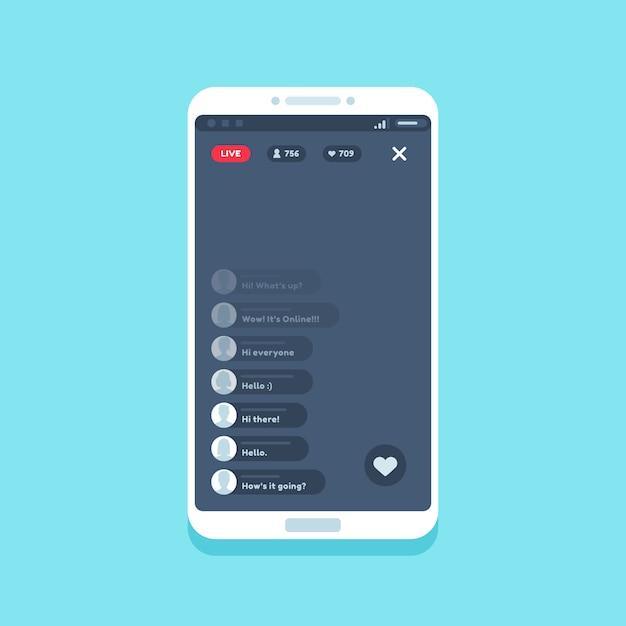 Live video stream on phone Premium Vector