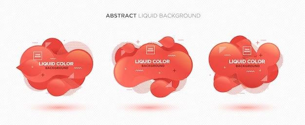 Современный абстрактный жидкий векторный баннер в цветах living coral Premium векторы