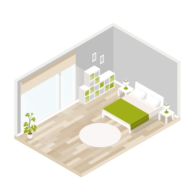 Living interior for lounge in isometric Premium Vector