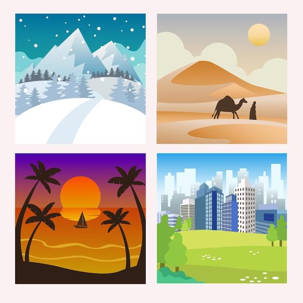 지구 컬렉션의 살아있는 풍경 무료 벡터
