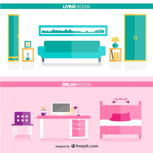 Living Room And Girls Free Vector