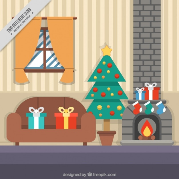 Living Room Background With Christmas Elements Free Vector