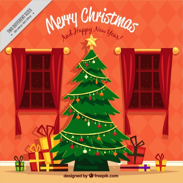 Living Room Background With Christmas Tree And Gifts Free Vector