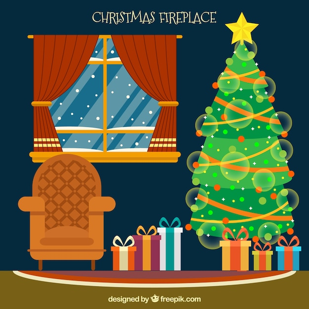 Living Room Background. Living room background with christmas tree Free Vector  Download