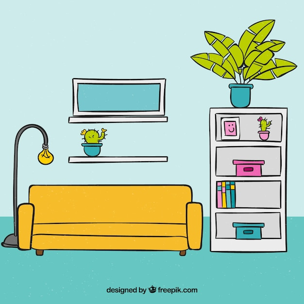 Living Room Background With Hand Drawn Furniture Vector