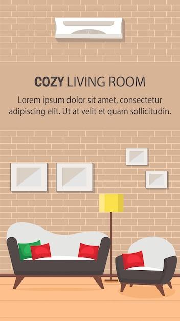 Room Design Layout Templates: Living Room Design Flat Banner Vector Template