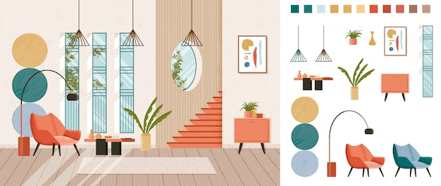 Гостиная с полным домашним дизайном интерьера, набор для создания, набор мебели для гостиной в модном стиле середины века, различные элементы конструктора для создания собственного имиджа сцены. квартира красочная. Premium векторы