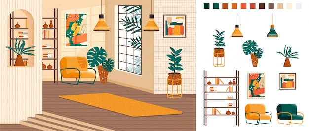 Premium Vector Living Room Full Home Interior Design Creation Kit Lounge Set With Furniture In Trendy Mid Century Style Different Constructor Elements To Build Own Image Scene Flat Colorful