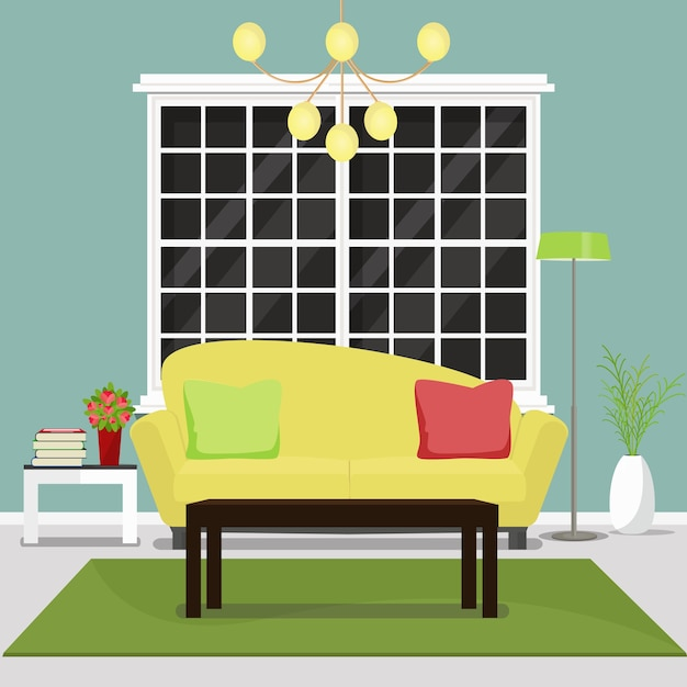 Cozy Living Room Vector Illustration: Living Room Furniture. Interior Design Of Cozy Living Room