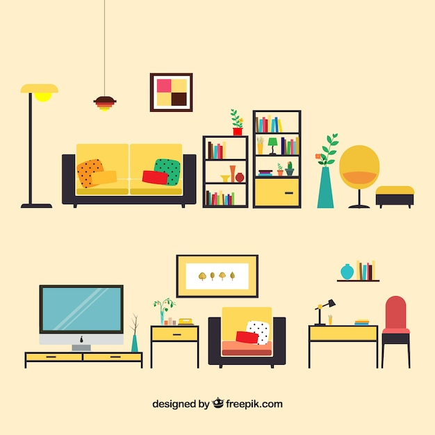 Living room furniture Free Vector - Living Room Furniture Vector Free Download
