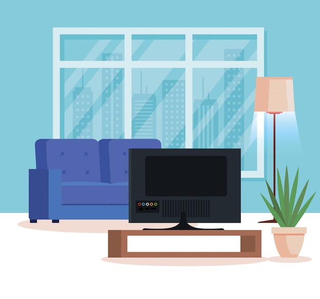 ソファとテレビのあるリビングルームの家の場所 無料ベクター