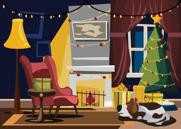 クリスマスの日のリビングルームベクトルイラスト Premiumベクター