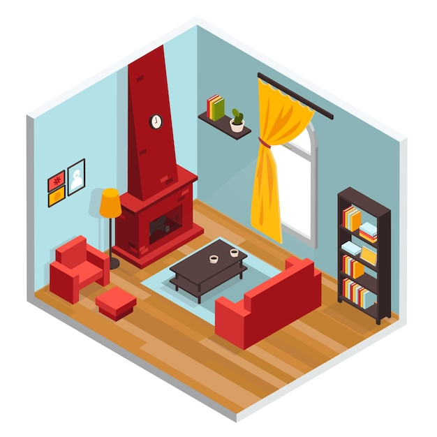 Living room inerior concept Free Vector