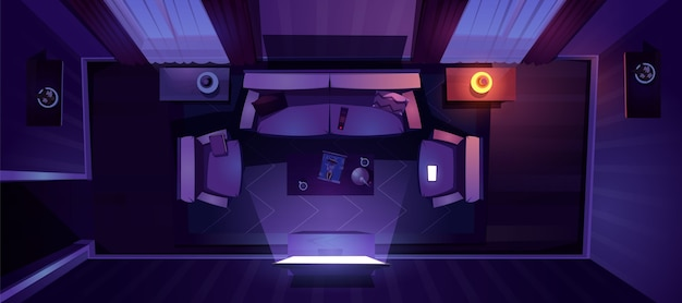 夜の上面図のリビングルームのインテリア 無料ベクター