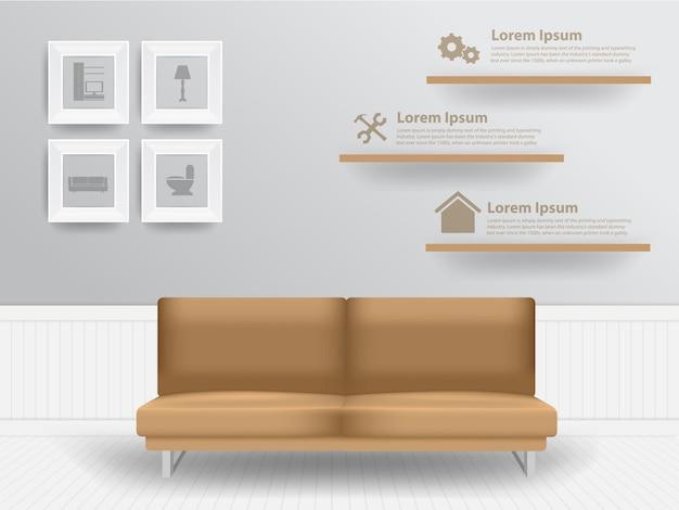 Living room interior concept Premium Vector