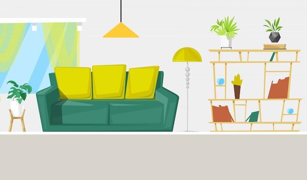 Living room interior design with furniture cartoon illustration. Premium Vector
